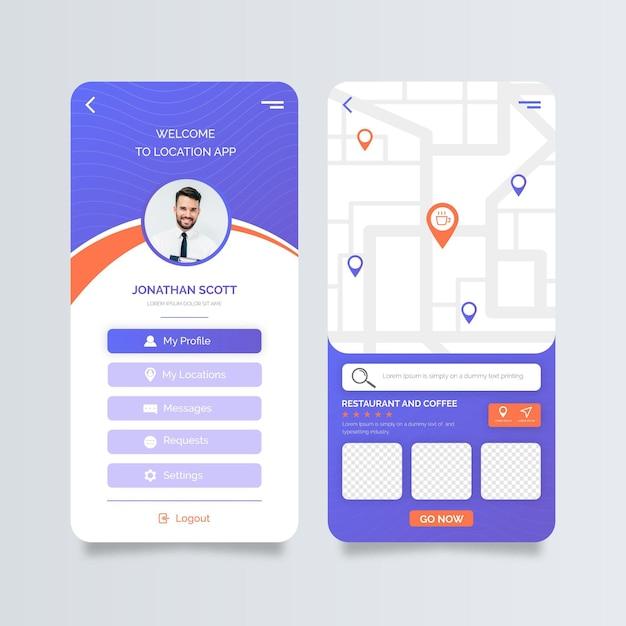 Location app screens Free Vector