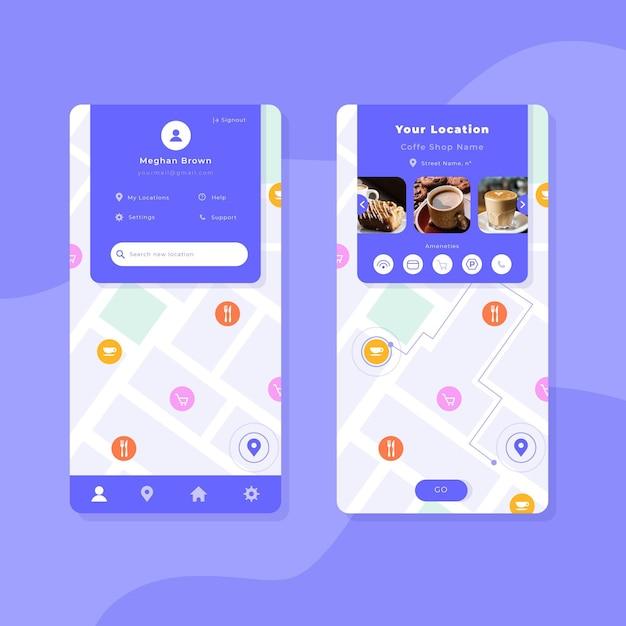 Raccolta di modelli di app di posizione Vettore gratuito