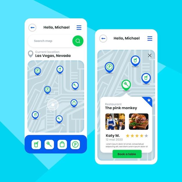 Pacchetto modello di app di posizione Vettore gratuito