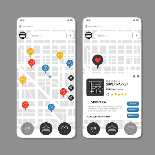 Location app template screens collection Free Vector