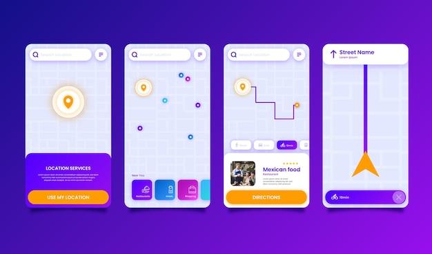 Set di modelli di app di posizione Vettore gratuito