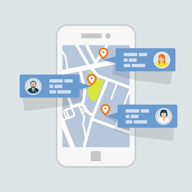 地図上のロケーションチェックイン-モバイルgpsナビゲーション Premiumベクター