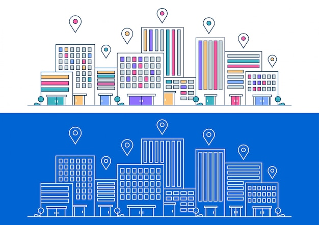 Location city with thin line style Premium Vector