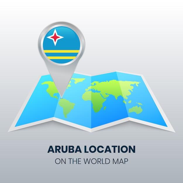 Location icon of aruba on the world map Vector | Premium ...