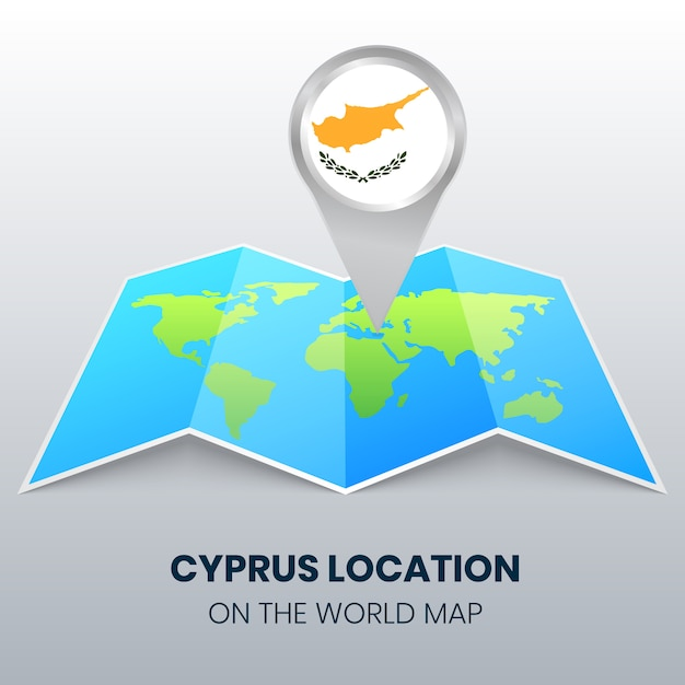 Location icon of cyprus on the world map Premium Vector