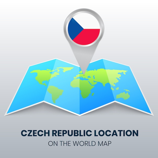 Location icon of the czech republic on the world map Premium Vector