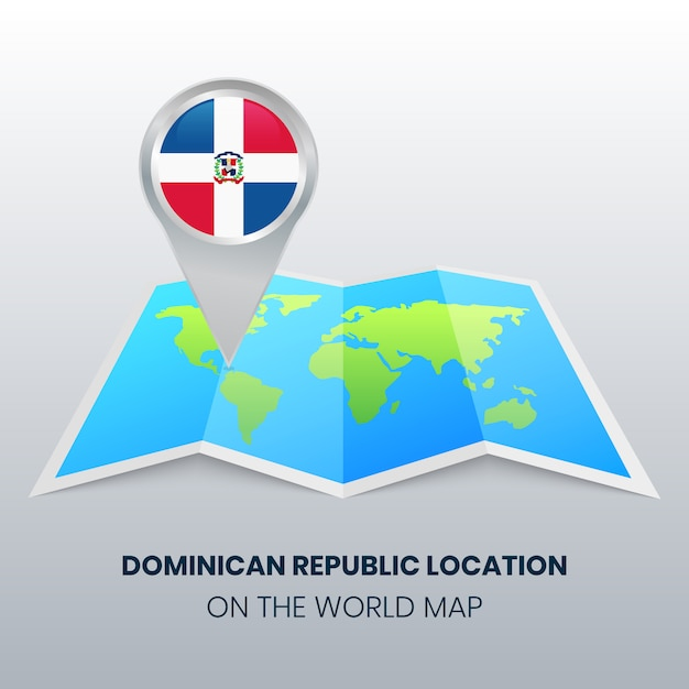 Location icon of dominican republic on the world map Vector ...