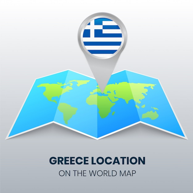 Location icon of greece on the world map Premium Vector
