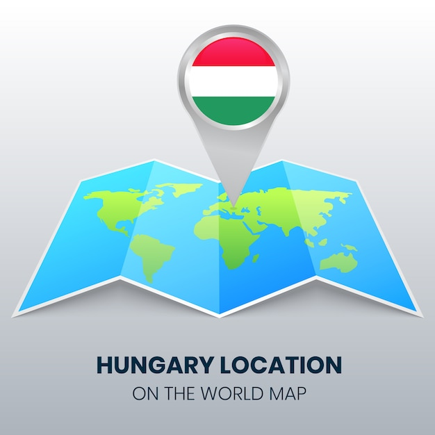 Location icon of hungary on the world map Premium Vector