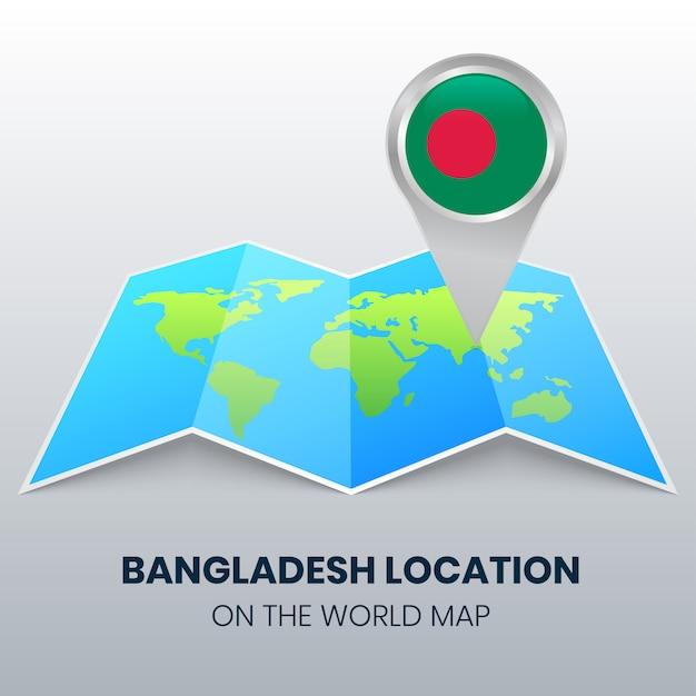 世界地図上のバングラデシュの場所アイコン、バングラデシュの丸ピンアイコン Premiumベクター