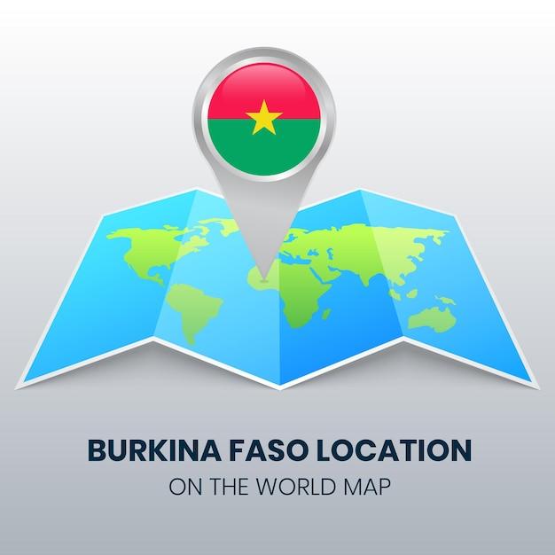 世界地図上のブルキナファソの場所アイコン、ブルキナファソの丸いピンアイコン Premiumベクター