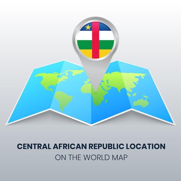 世界地図上の中央アフリカ共和国の場所アイコン、中央アフリカの丸いピンアイコン Premiumベクター
