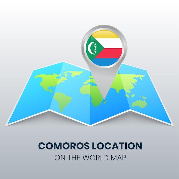 Значок местоположения коморских островов на карте мира Premium векторы