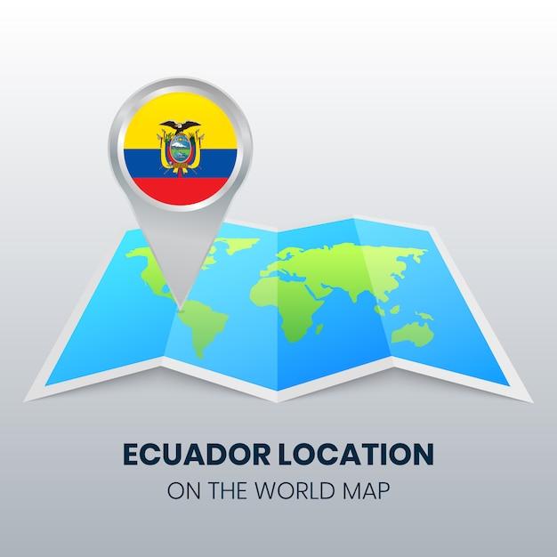 世界地図上のエクアドルの場所アイコン | プレミアムベクター
