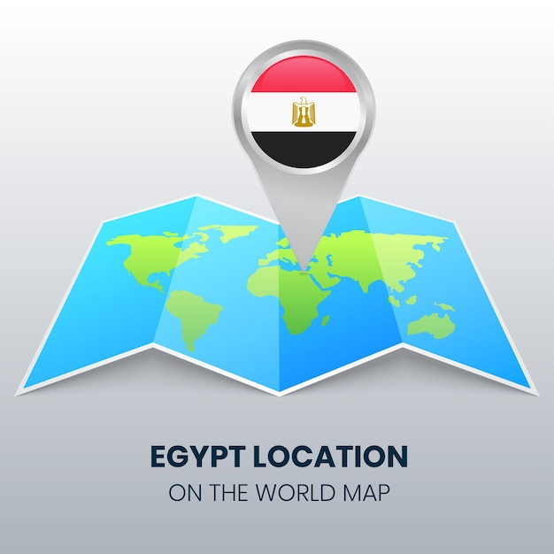 世界地図上のエジプトの場所アイコン、エジプトの丸いピンアイコン Premiumベクター