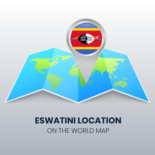 世界地図上のエスワティニの場所アイコン Premiumベクター