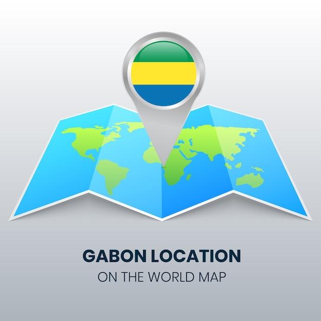 世界地図上のガボンの位置アイコン、ガボンの丸いピンアイコン Premiumベクター