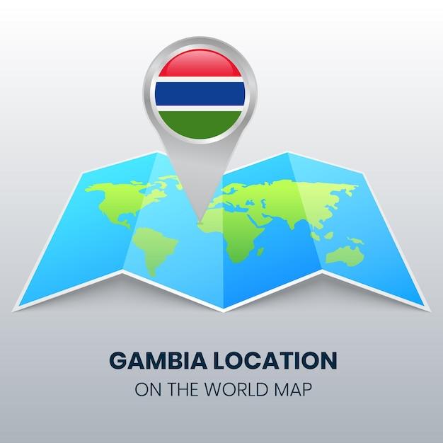 世界地図上のガンビアのロケーションアイコン、ガンビアの丸いピンアイコン Premiumベクター