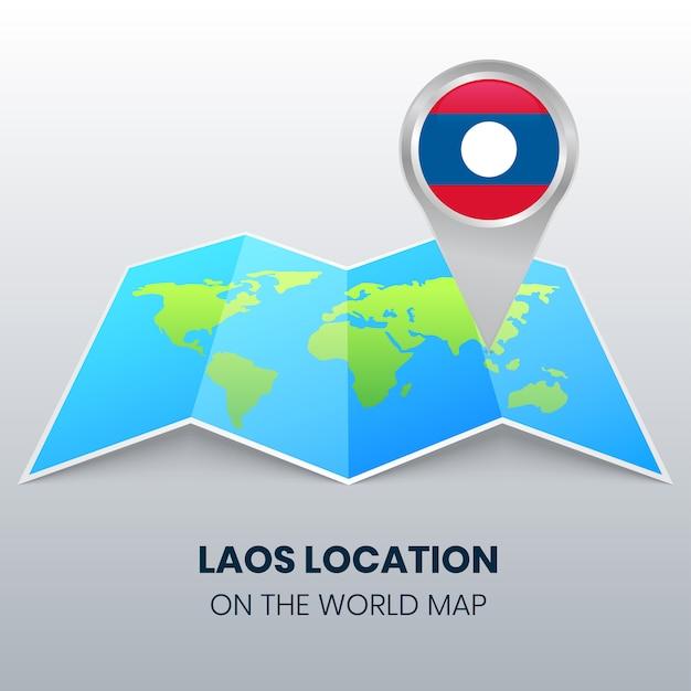 世界地図上のラオスの場所アイコン、ラオスの丸いピンアイコン Premiumベクター