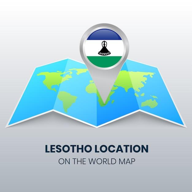 Значок местоположения лесото на карте мира Premium векторы
