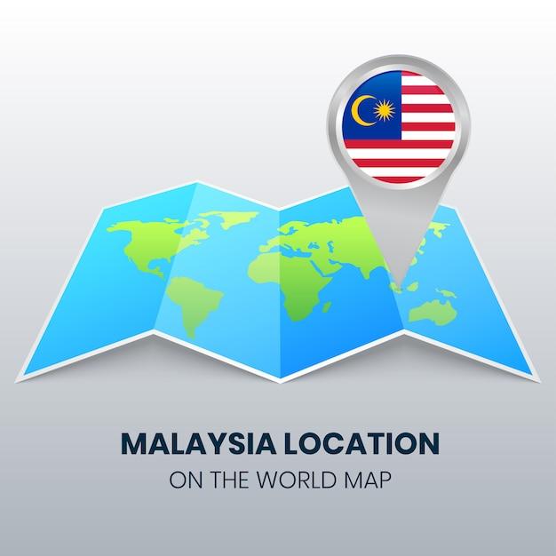 世界地図上のマレーシアの場所アイコン、マレーシアの丸ピンアイコン Premiumベクター