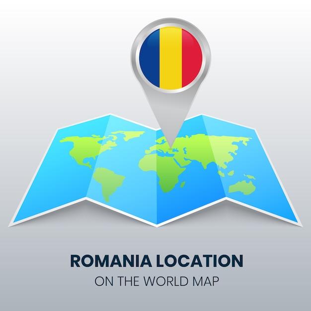 Значок местоположения румынии на карте мира Premium векторы