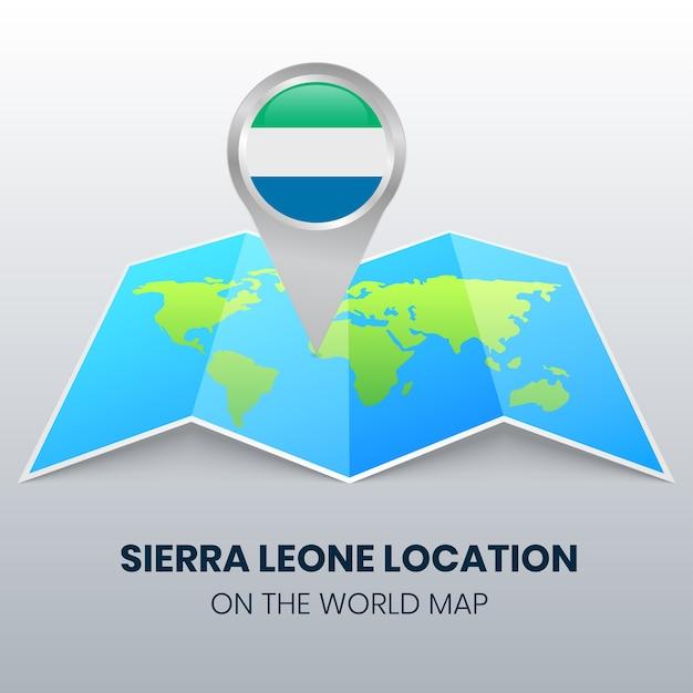 Значок местоположения сьерра-леоне на карте мира Premium векторы