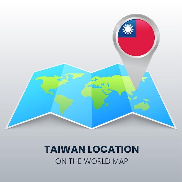 世界地図上の台湾の場所アイコン、台湾の丸ピンアイコン Premiumベクター