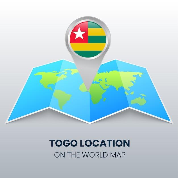 世界地図上のトーゴのロケーションアイコン、トーゴの丸いピンアイコン Premiumベクター