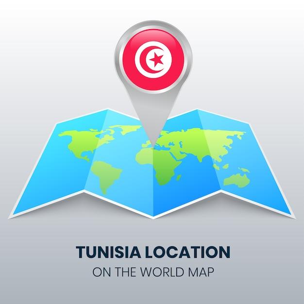 Значок местоположения туниса на карте мира Premium векторы