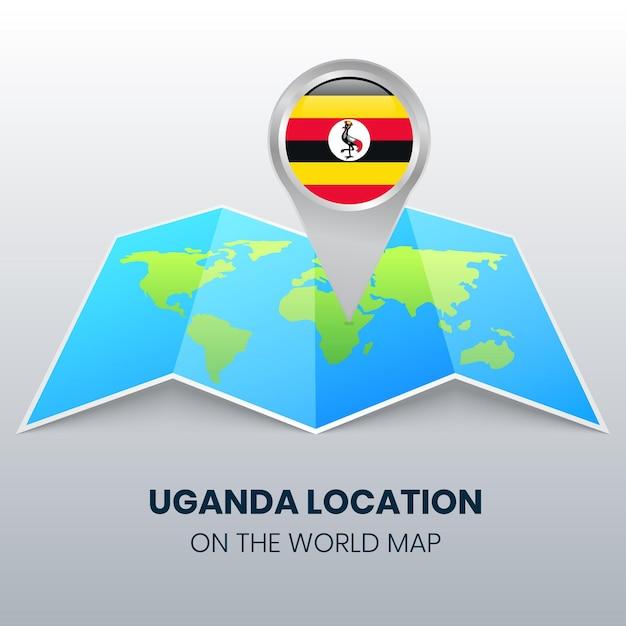 世界地図上のウガンダの場所アイコン、ウガンダの丸いピンアイコン Premiumベクター
