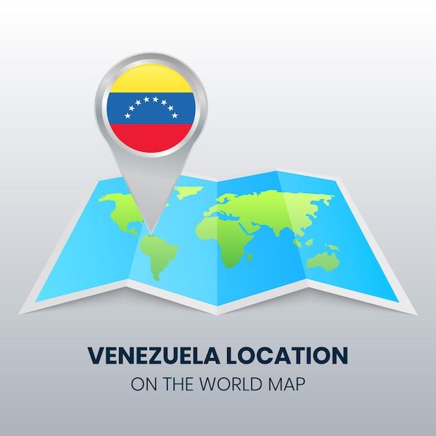 Значок местоположения венесуэлы на карте мира Premium векторы