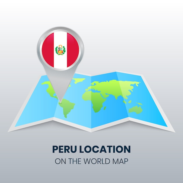Location icon of peru on the world map Premium Vector
