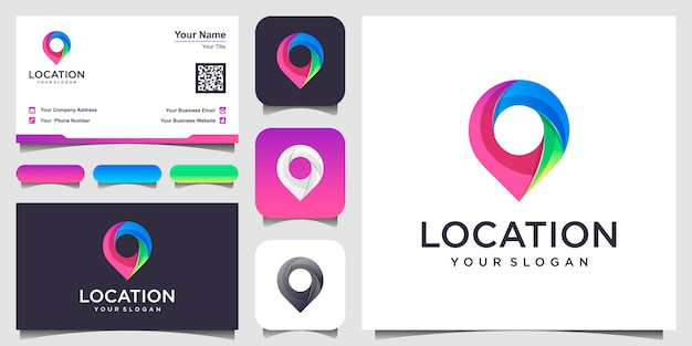 Location icon  . pin sign isolated with design business card. Premium Vector