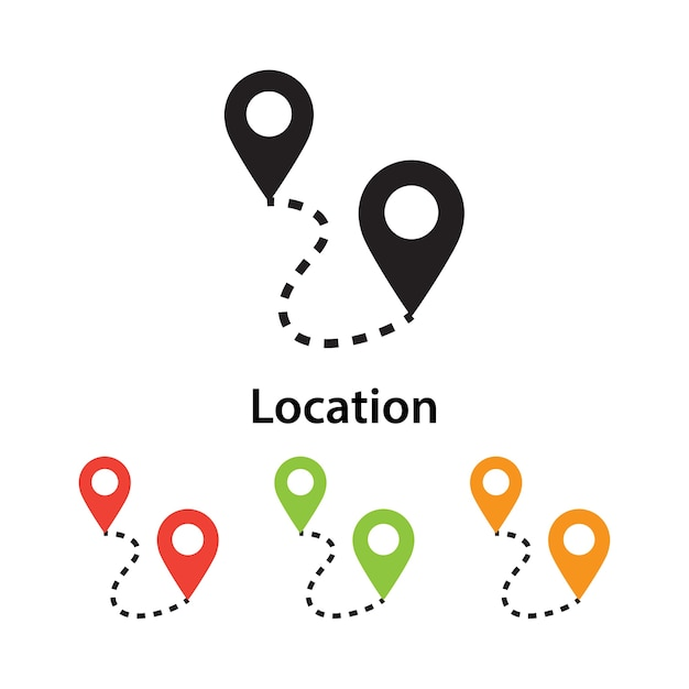 Location icon on white background with different color set. Premium Vector
