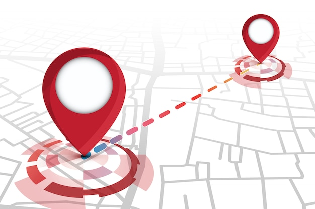Location  icons red color showing on street map with line tracking Premium Vector
