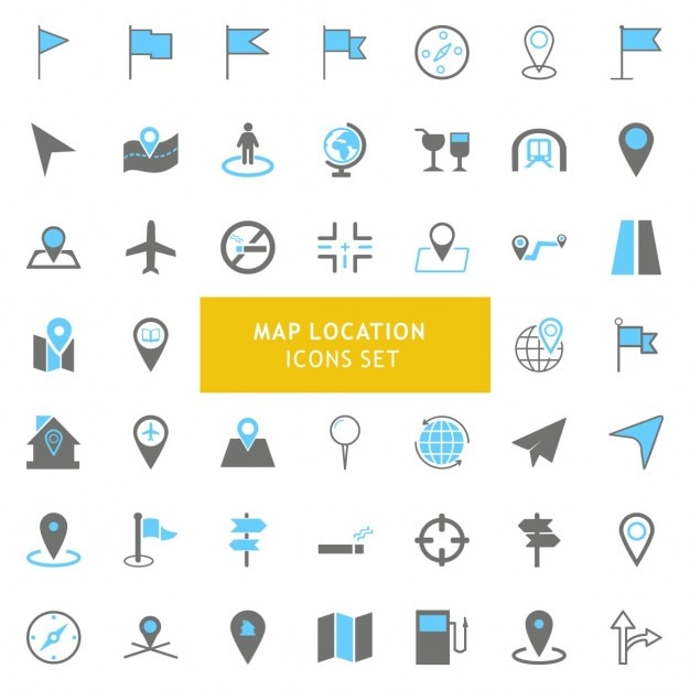 Черный и серый geo карта местоположение набор иконок Бесплатные векторы
