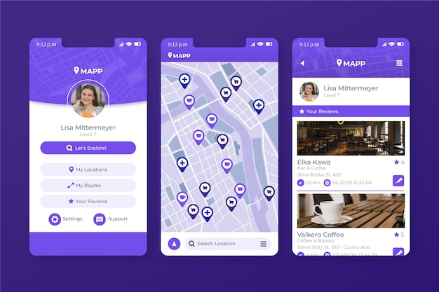 Location mobile app template Free Vector