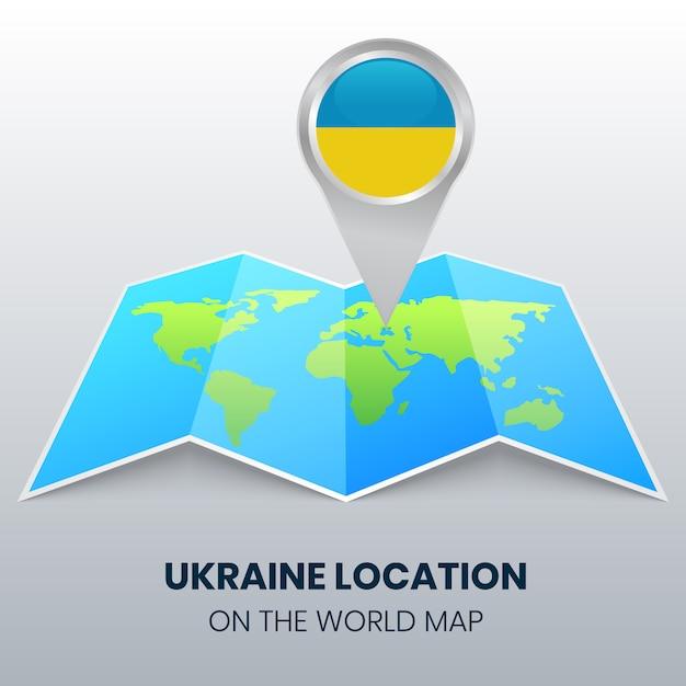 Расположение украины на карте мира, круглая иконка украины Premium векторы