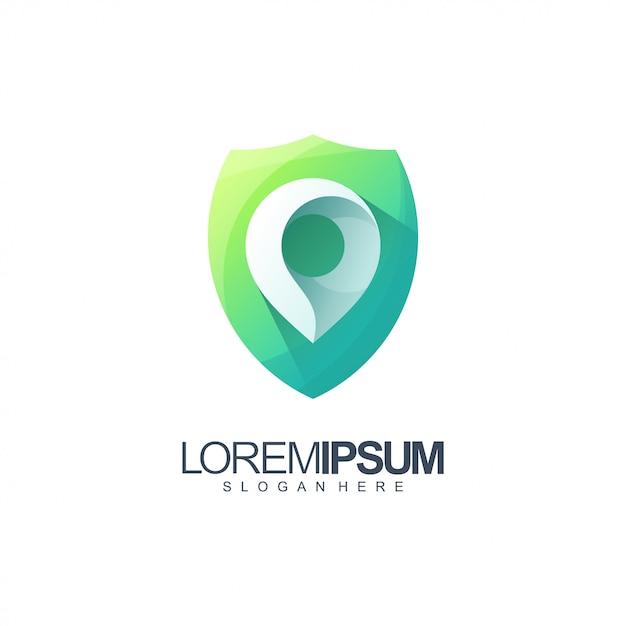 Location shield logo illustration Premium Vector