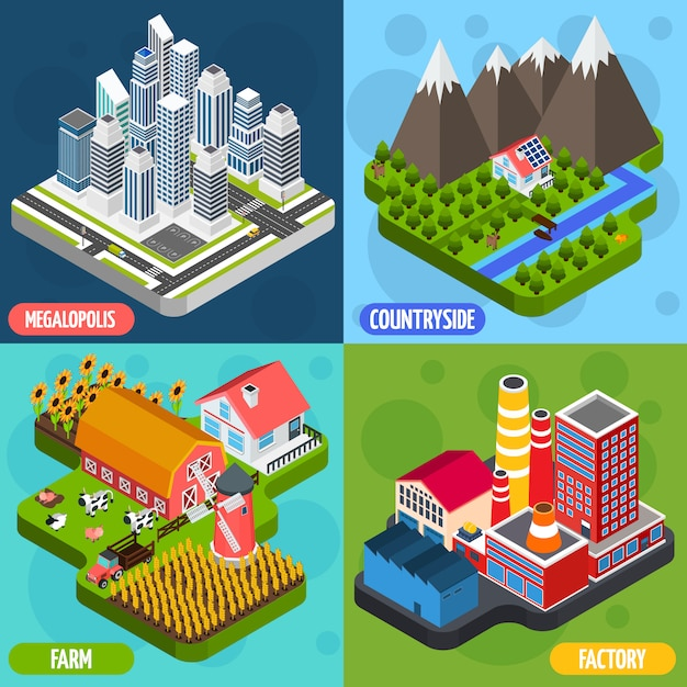 Locations 4 isometric icons square Free Vector