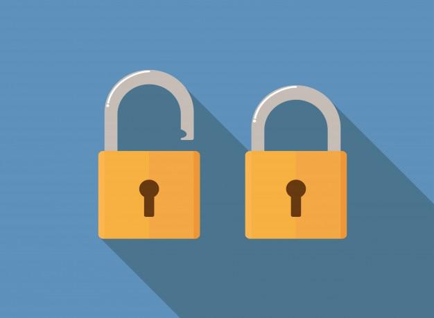 Lock icon flat style vector illustration Premium Vector