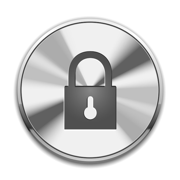 Lock icon on metal button Free Vector