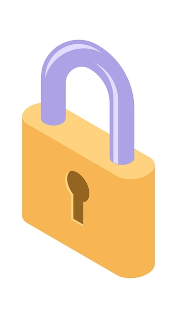 Lock isometric icon isolated vector illustration, protection and safety symbol Free Vector