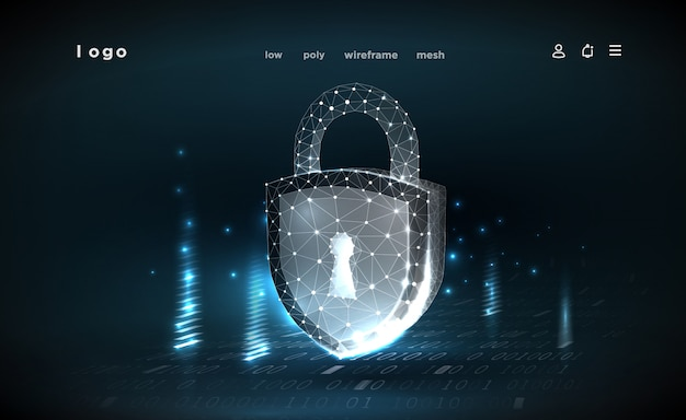 Lock.polygonal wireframe mesh.cyber security concept, protection. illustrates cyber data security or information privacy idea. abstract hi speed internet technology. Premium Vector