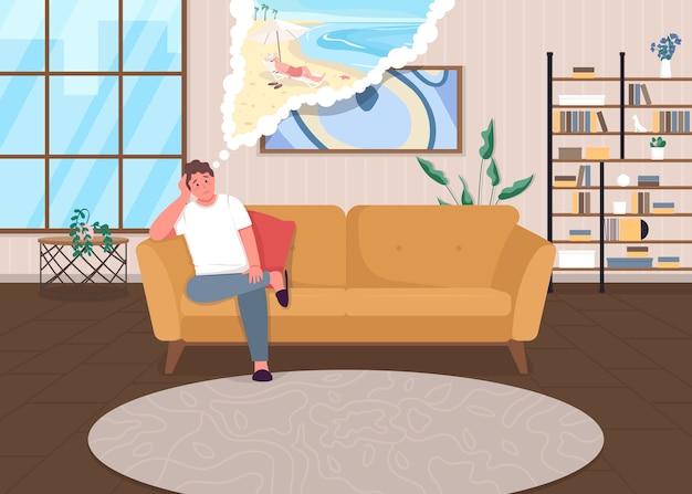 封鎖うつ病フラットカラーイラストパンデミック時の自己隔離悲しい男は休日を考える家のインテリアで休暇の漫画のキャラクターを夢見ている男 Premiumベクター