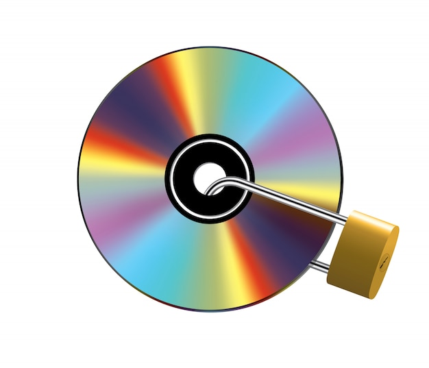 Locked cd on white Premium Vector