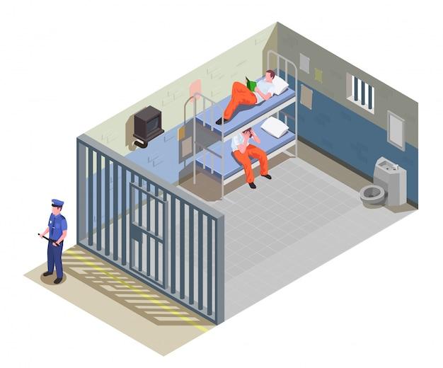 Запертая тюремная камера для двух заключенных с заключенными в форме и охранник изометрическая композиция иллюстрация Бесплатные векторы