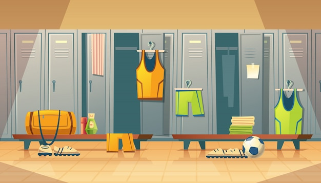 Locker or changing room for football, basketball team. Free Vector