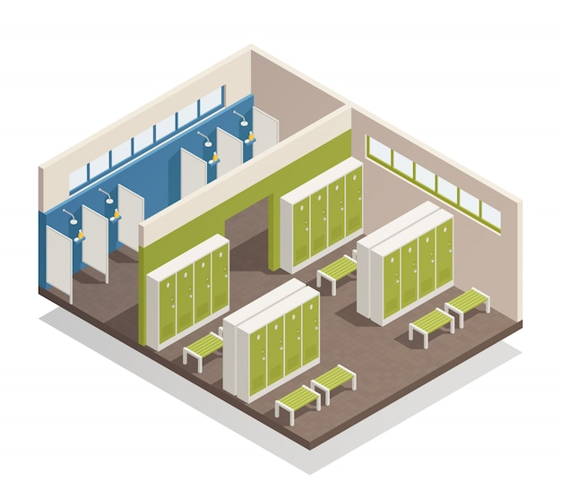 Locker dressing room isometric Free Vector